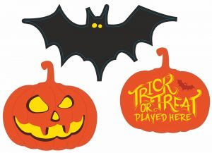 Helloween Signs printed and cut to shape - Bats and Pumpkins