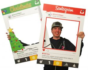 christmas selfie frames - party prop boards