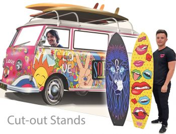 camper van and surfing boards cut out displays
